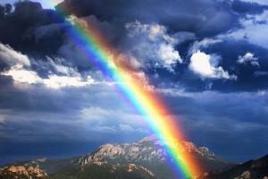 Rainbow over Rocky Mountains