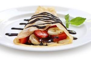 Vanilla crepes breakfast